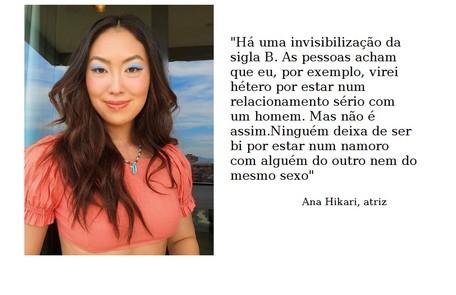 Ana Hikari é bissexual e está em fase de gravação da novela 'Quanto mais vida melhor' Reprodução