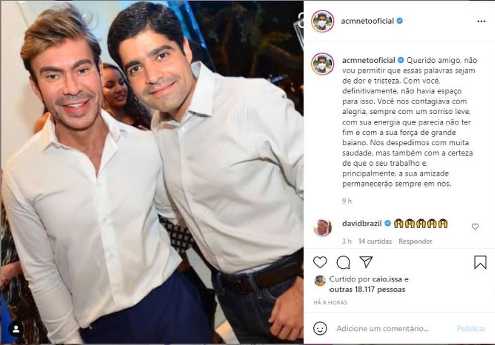 ACM Neto se despede do joalheiro baiano Carlos Rodeiro — Foto: Reprodução/Redes Sociais