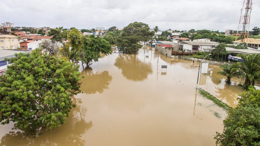 Mais de 370 pessoas foram desalojadas em Lauro de Freitas — Foto: Edgard Copque/Prefeitura de Lauro de Freitas