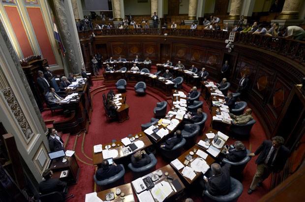 Senadores debatem a criação do primeiro mercado nacional de maconha (Foto: Matilde Campodonico/AP)