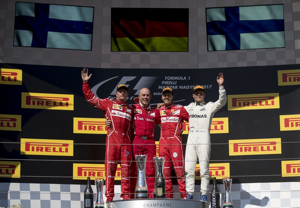 O pódio do GP da Hungria (Foto: Getty Images)