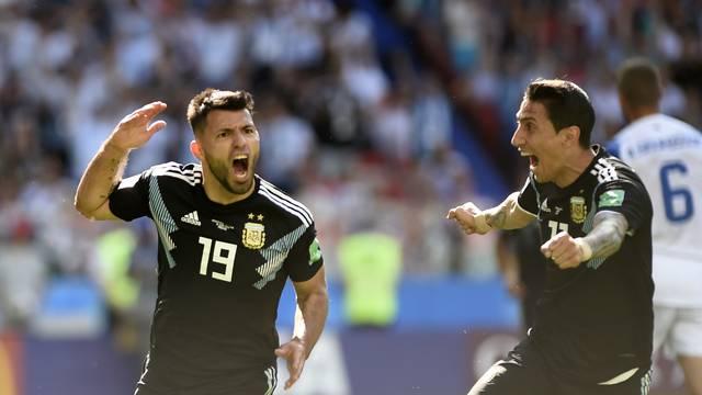 Agüero comemora gol da Argentina