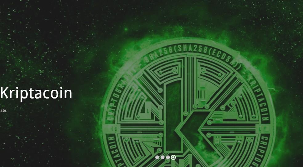Site da moeda virtual falsa Kriptacoin, criada pela empresa Wall Street Corporate, de Brasília (Foto: Kriptacoin/Reprodução)