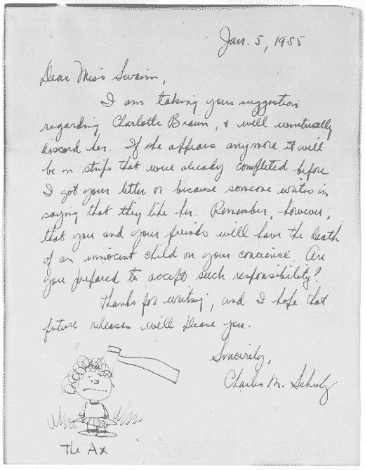 Carta de Charles M. Schulz (Foto: Letters of Note)