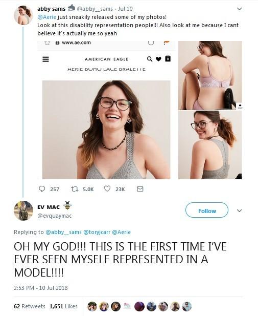Modelo elogia marca de lingerie por representatividade (Foto: Reprodução / Twitter)