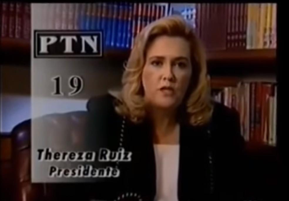 Programa eleitoral de Thereza Ruiz, candidata à Presidência em 1998 pelo PTN (atual Podemos) — Foto: Reprodução/Youtube