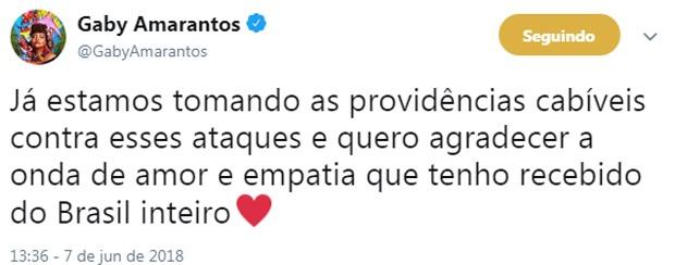 Gaby Amarantos (Foto: Reprodução/Twitter)