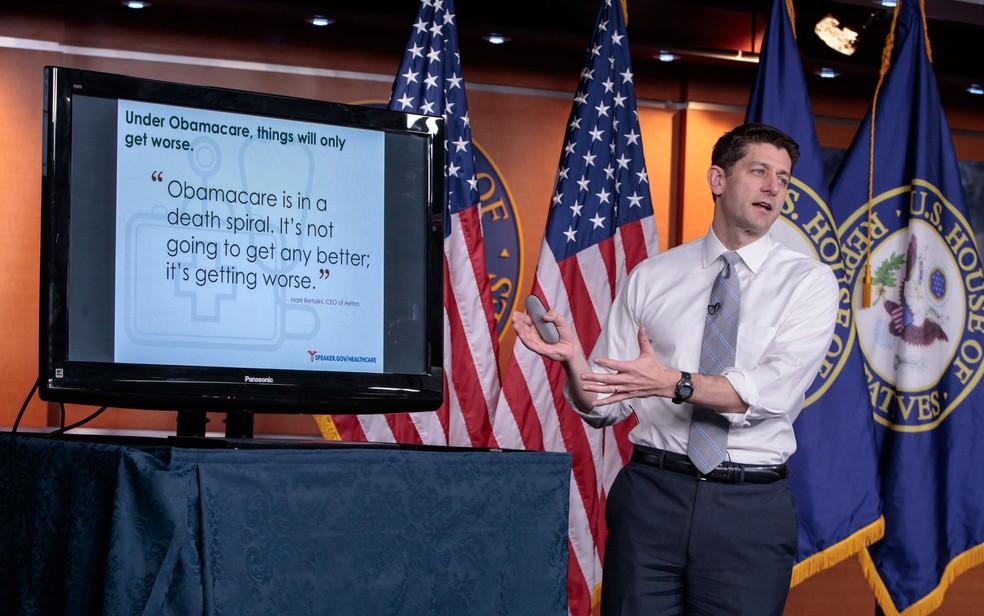 O presidente da Câmara dos EUA, Paul Ryan, durante apresentação do plano de substituição ao Obamacare (Foto: AP Photo/J. Scott Applewhite)