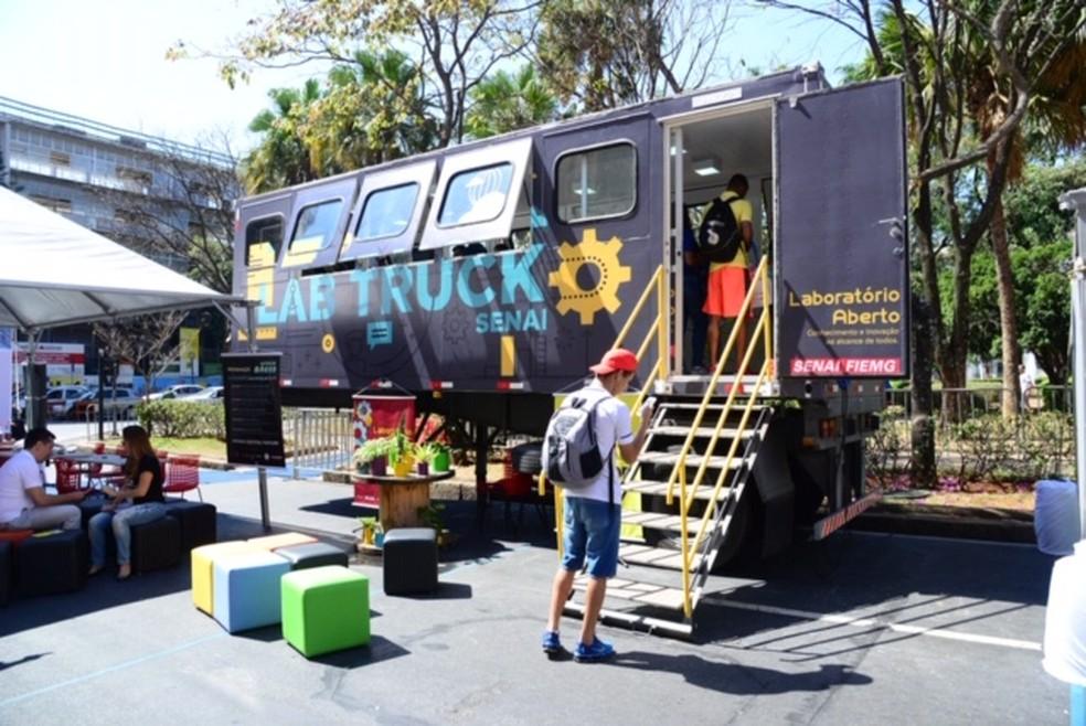 Senai conta com laboratório aberto em camihão itinerante  — Foto: Sebastião Jacinto Jr./Fiemg