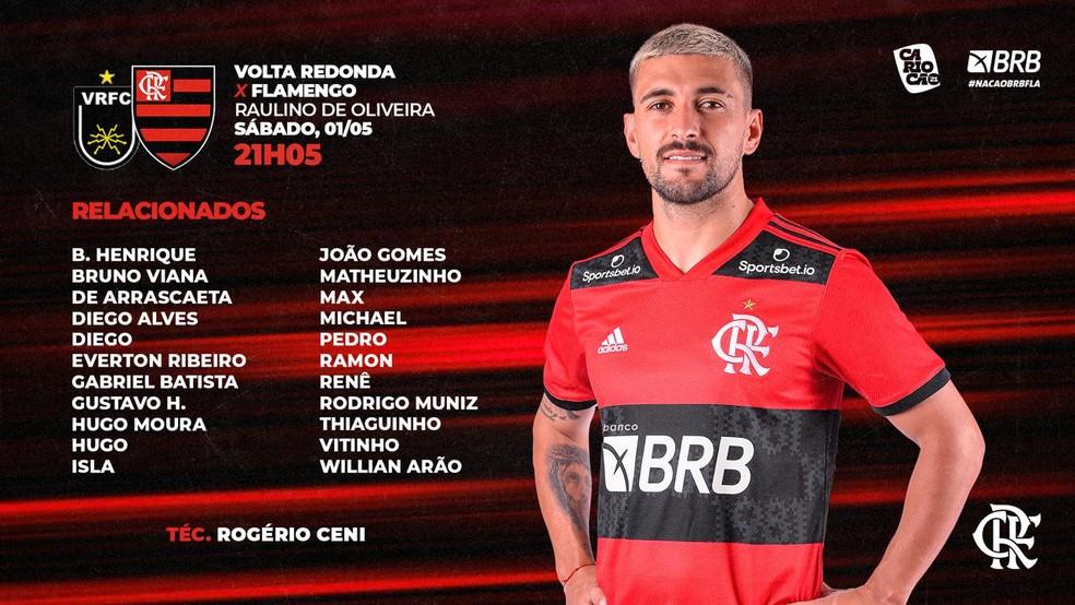 relafla4 Escalação do Flamengo: Gabigol, Filipe Luis e Gerson ficam fora de duelo com o Volta Redonda
