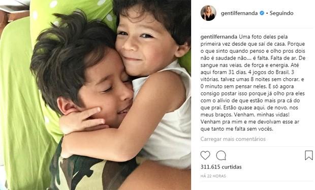 Fernanda Gentil fala da falta dos filhos (Foto: Reprodução)