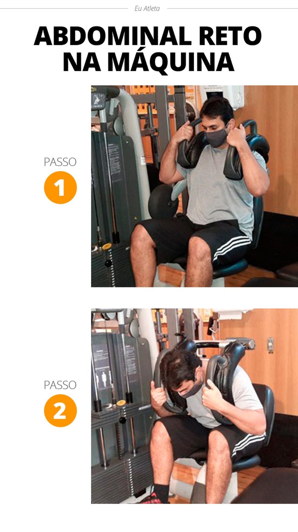 Abdominal reto na máquina  — Foto: Divulgação Alexandre Barcellos /Academia Wonder Fit