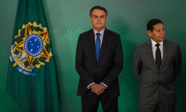 O presidente Jair Bolsonaro e o vice, Hamilton Mourão