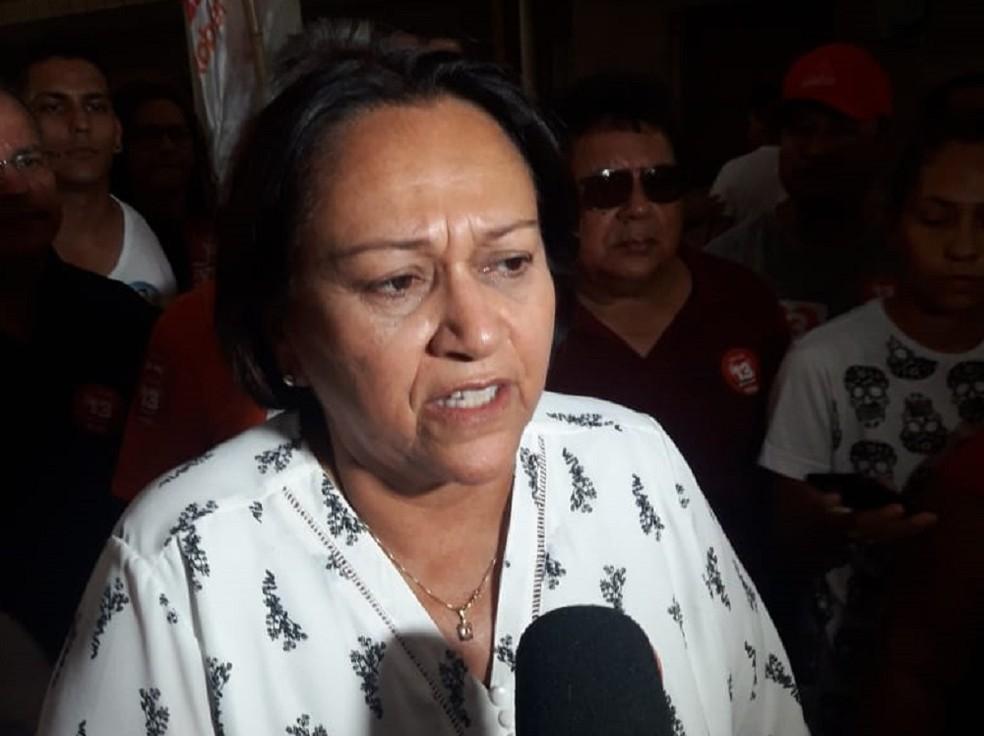 Fátima Bezerra cumpriu agenda de campanha na Zona Oeste de Natal.  — Foto: Heloisa Guimarães/Inter TV Cabugi