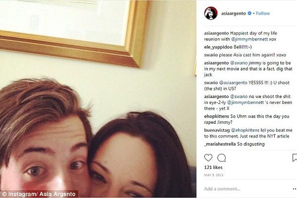 Asia Argento e Jimmy Bennett (Foto: Instagram)