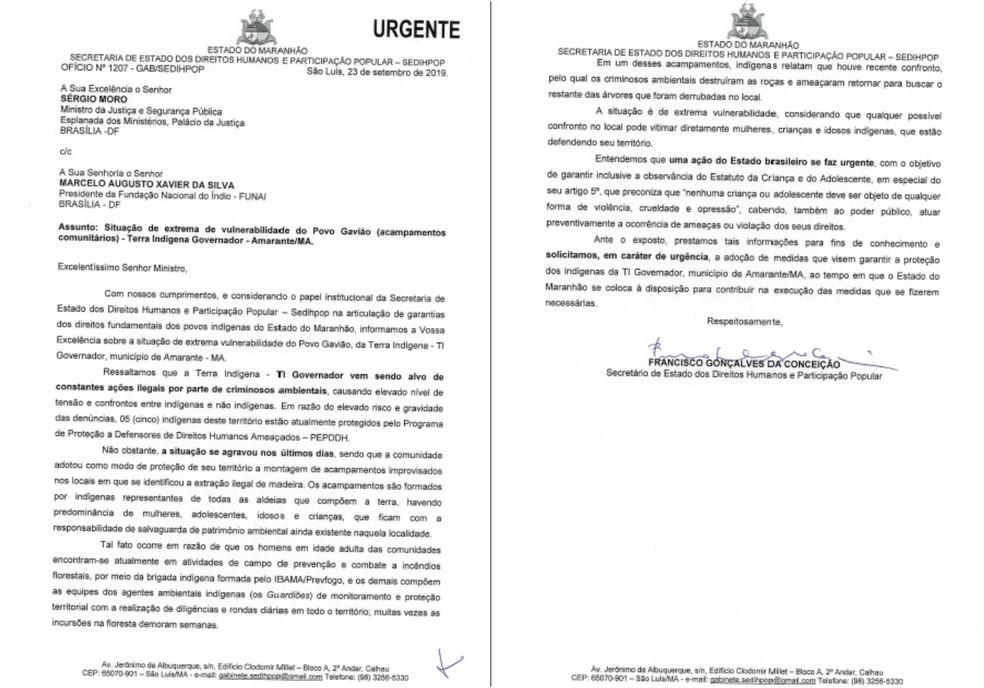 Oficio enviado pela Secretaria de Direitos Humanos e Participação Popular do Maranhão (SEDIHOP) ao Ministério da Justiça e a Fundação Nacional do Índio (Funai). — Foto: Reprodução/G1 MA/SEDIHOP