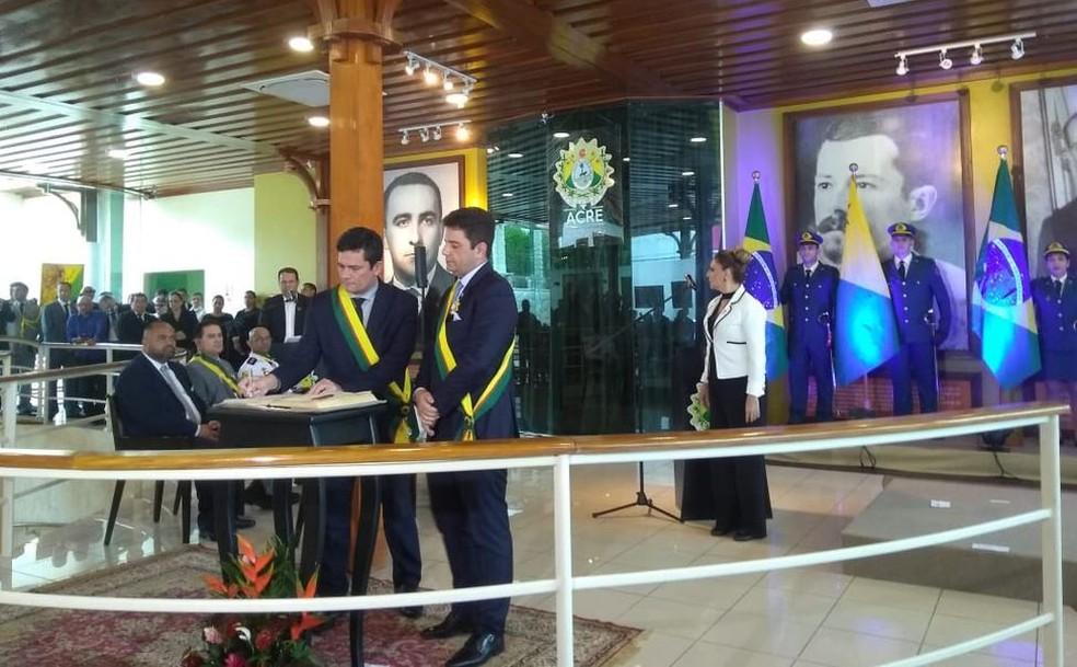 Ministro Sérgio Moro visitou o Acre e falou sobre a segurança nas fronteiras — Foto: Alcinete Gedelha/G1