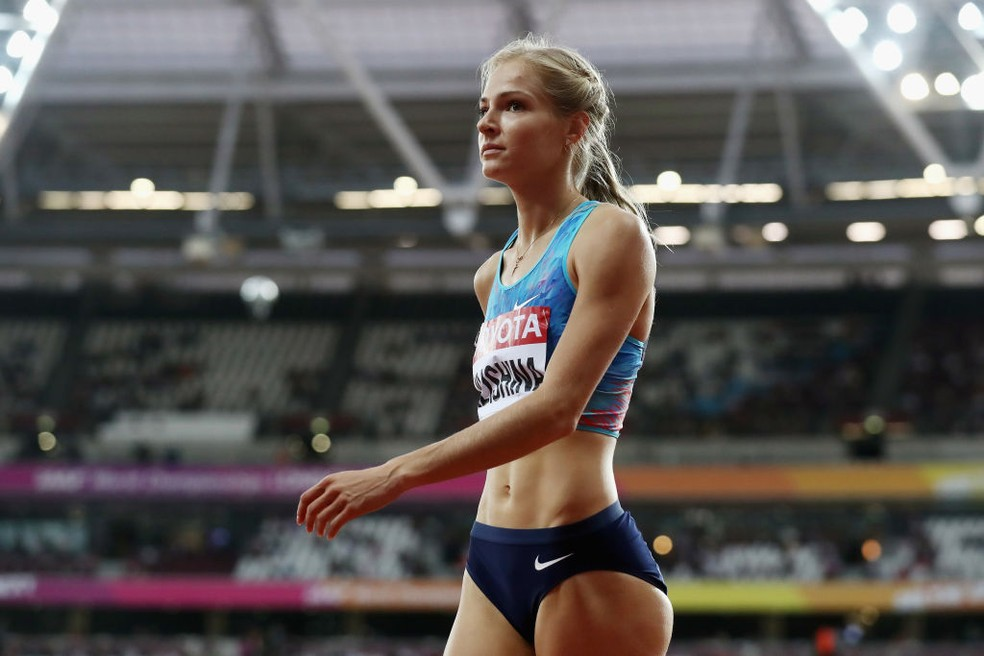 Darya Klishina salto em distância Mundial de Atletismo Londres 2017 — Foto: Alexander Hassenstein/Getty Images