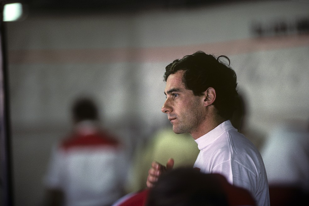 Ayrton Senna ironizou críticas de Alain Prost em Hockenheim-1991 — Foto: Getty Images