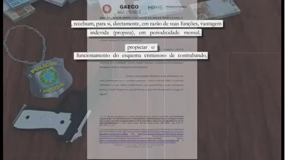 Denúncia do Gaeco e Ministério Público afirma que cúpula da PM em MS recebia propina para fazer parte de esquema criminoso de contrabando — Foto: TV Morena/Reprodução