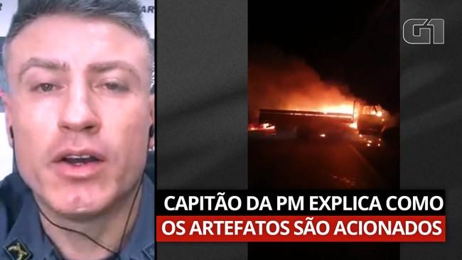 Capitão da PM explica como explosivos usados por criminosos em Araçatuba são acionados