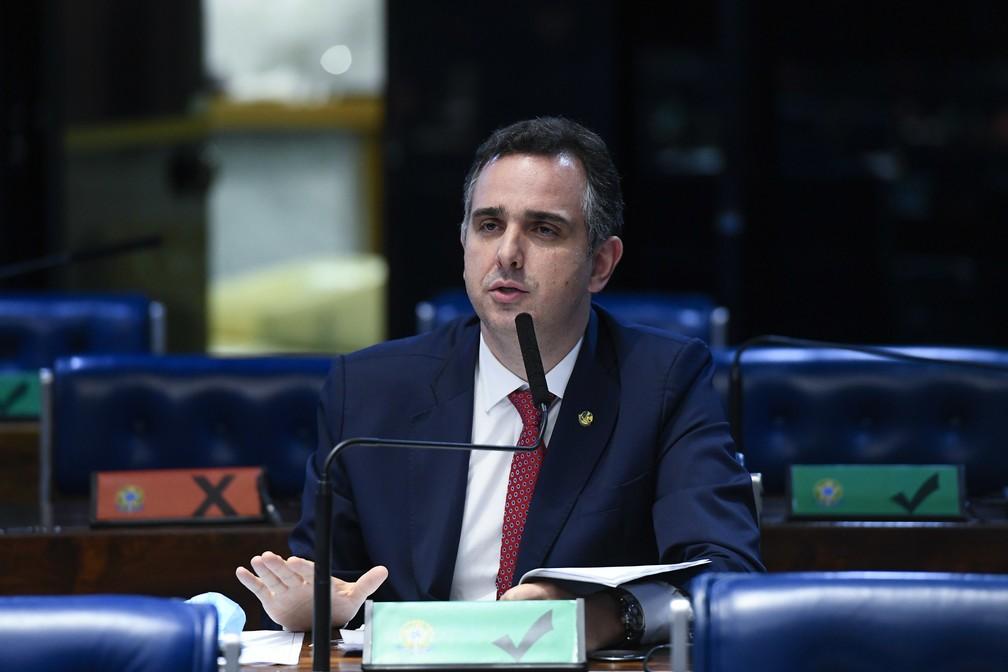 Rodrigo Pacheco (DEM-MG) em sessão do Senado — Foto: Marcos Oliveira/Agência Senado