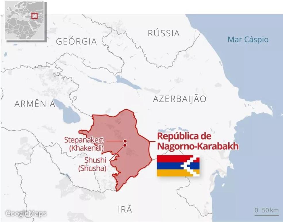 Mapa República de Nagorno-Karabakh  — Foto: Alexandre Mauro/G1
