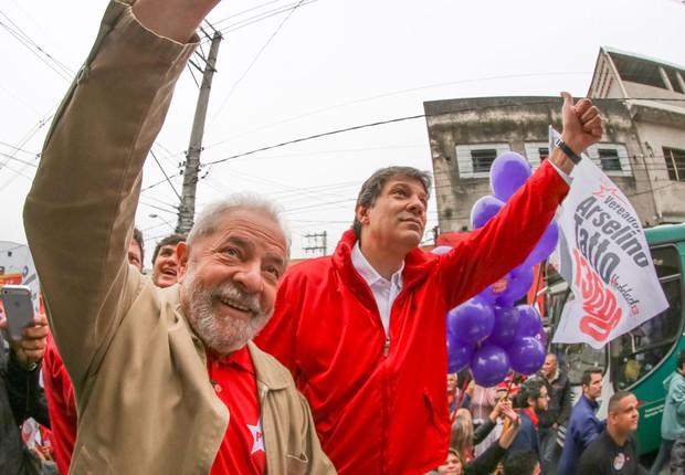 O ex-presidente Luiz Inácio Lula da Silva participa de evento de campanha do prefeito de São Paulo e candidato à reeleição, Fernando Haddad (PT-SP) (Foto: Ricardo Stuckert/Instituto Lula)