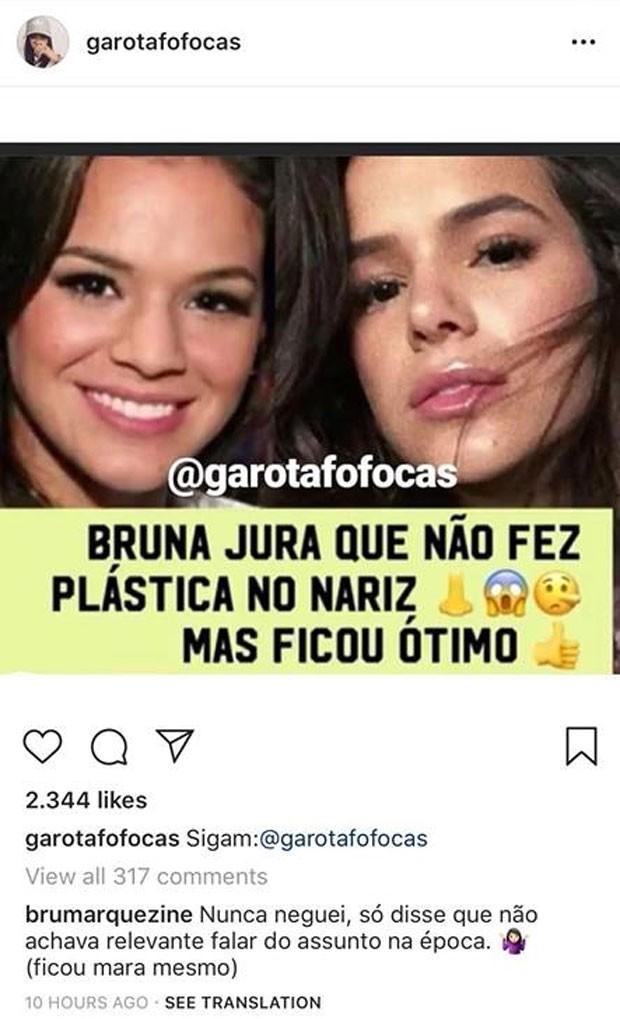 Bruna Marquezine comenta post (Foto: Reprodução)