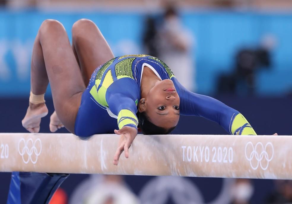 Rebeca Andrade nas Olimpíadas — Foto: Ricardo Bufolin / Panamerica Press / CBG
