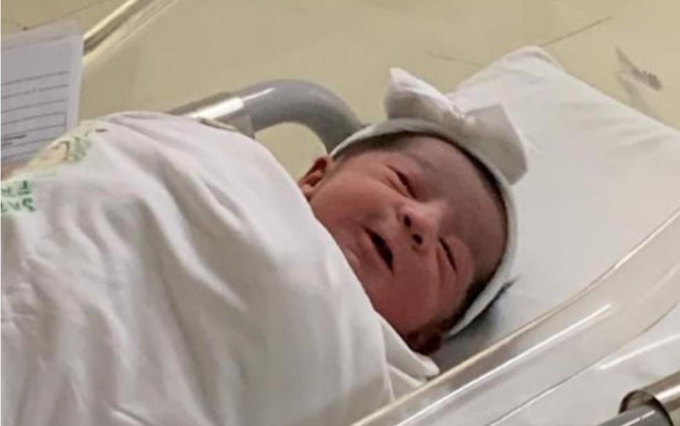 Helena Rodrigues foi o segundo bebê a ter digital registrada por biometria em maternidade de Goiânia, Goiás — Foto: Governo de Goiás/Divulgação