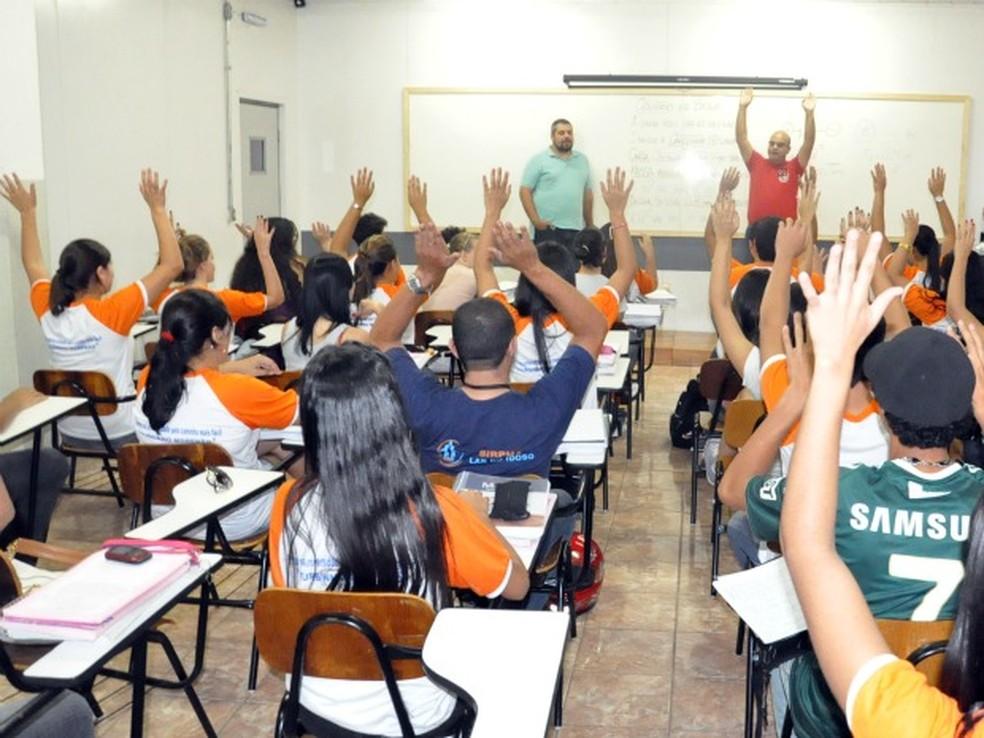 Sala de aula em Campo Grande (MS) — Foto: Aliny Mary Dias/G1MS