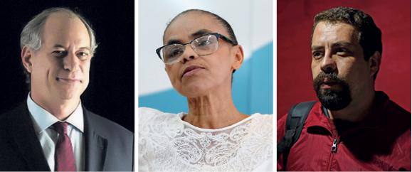 NO VÁCUO Ciro, Marina e Boulos são candidatos ao lugar de Lula, mas nenhum preenche os requisitos de uma esquerda crítica (Foto: Diego Padgurschi/Folhapress, Andre Dusek/Estadão Conteúdo e Sakl;Zanone Fraissat/Folhapress)