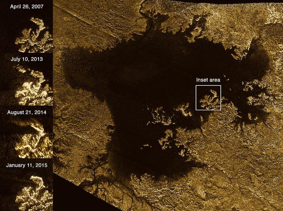 Fotos mostram pedaço de ilha desaparecendo em lago de metano em Titã — Foto: Nasa/ESA