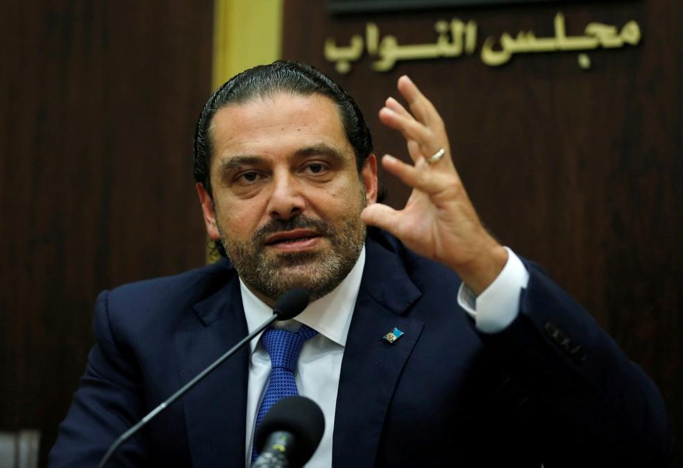 O primeiro-ministro libanês Saad al-Hariri durante coletiva de imprensa, em outubro (Foto: Mohamed Azakir/Reuters)