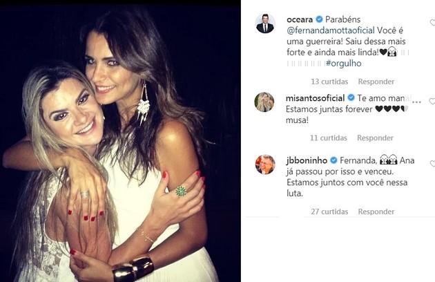 Mirella Santos e Ceará elogiaram a coragem da amiga de longa data. Boninho também deixou relato (Foto: Reprodução/Instagram)