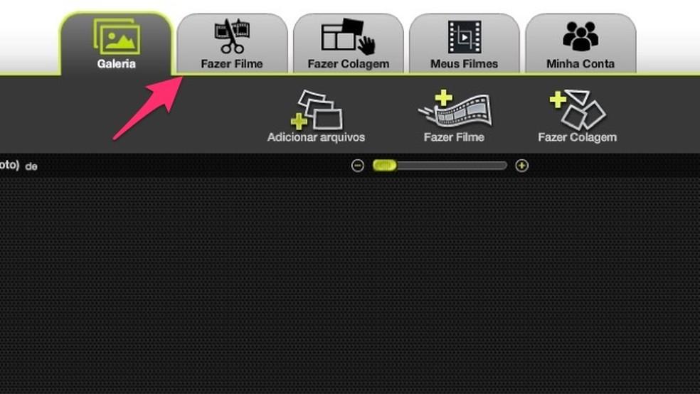 Ação para acessar a página para criar filmes do serviço online Kizoa — Foto: Reprodução/Marvin Costa