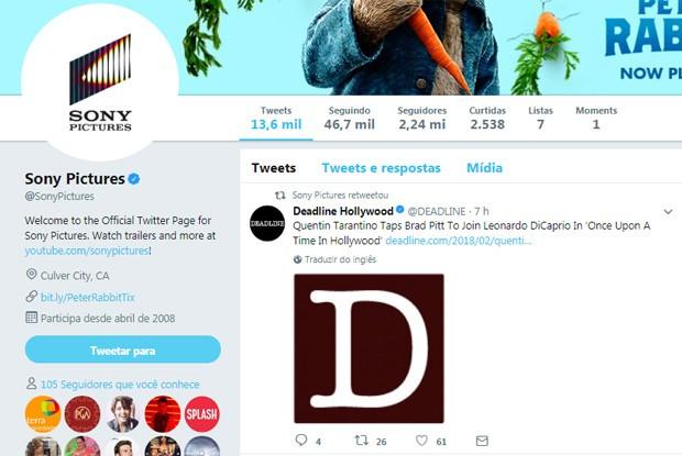 Sony confirma encontro DiCaprio e Pitt em longa de Tarantino (Foto: Reprodução/Twitter)