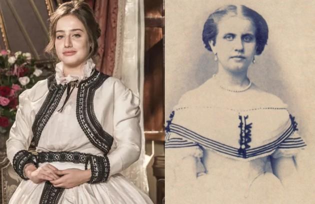 Bruna Griphao será Princesa Leopoldina, a outra filha do casal (Foto: Globo e reprodução)