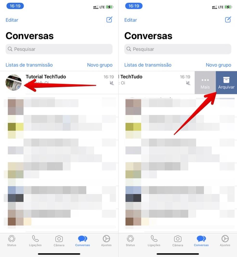 Como esconder um grupo no WhatsApp ao arquivar a conversa — Foto: Reprodução/Helito Beggiora