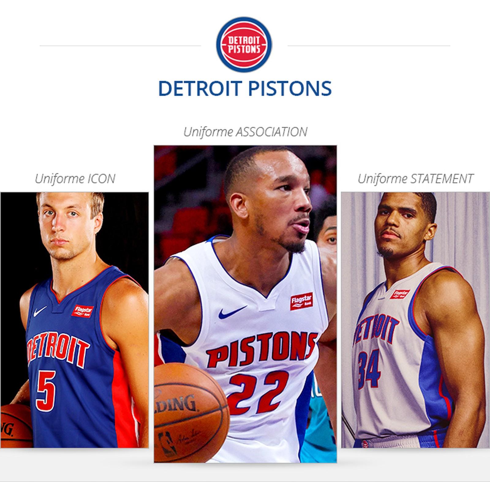 Uniformes Detroit Pistons saison 2017/18
