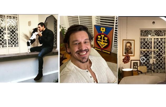 João Vicente de Castro mostra sua varanda, suas obras de arte e o local onde apresenta o 'Talk-show do João Vicente', nas redes sociais (Foto: Reprodução)