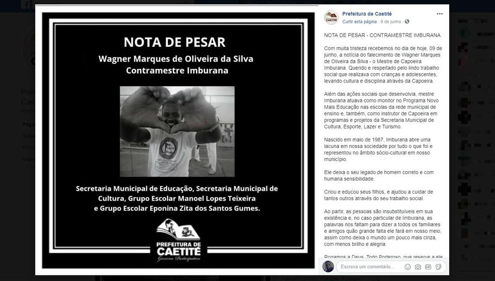 A prefeitura da cidade utilizou as redes sociais para lamentar a morte do homem.  â?? Foto: Reprodução / Redes Sociais