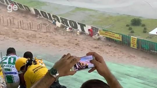 Estádio Lomanto Júnior tem área interditada após danos provocados pela chuva
