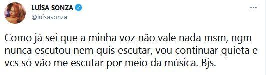 Luísa Sonza se pronuncia na web (Foto:  Reprodução / Twitter)