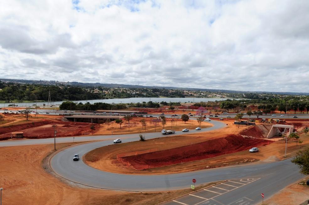 Obras no Trevo de Triagem Norte, em imagem de arquivo (Foto: Dênio Simões/Agência Brasília)