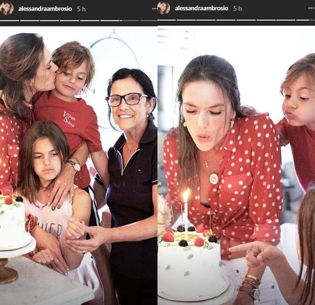 Alessandra Ambrosio celebra 37 anos com os filhos e a mãe (Foto: Reprodução/Instagram)