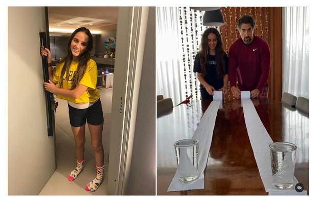 Donatella, de 11 anos, posa ao lado da porta de entrada gigante. À direita, a mesa da sala da família (Foto: Reprodução)