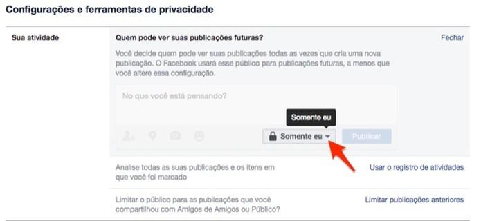Ação para ver outras opções de privacidade para posts do Facebook (Foto: Reprodução/Marvin Costa)