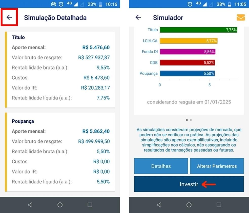 Ferramenta para investir no título selecionado no simulador do Tesouro Direto — Foto: Reprodução/Raquel Freire